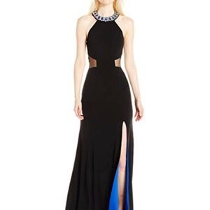 Sequin Hearts Black Jewel Slit Maxi Gown Dress XS